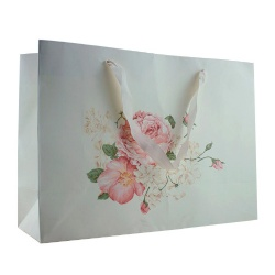 Printed White Craft Paper Bag with Ribbon Handle